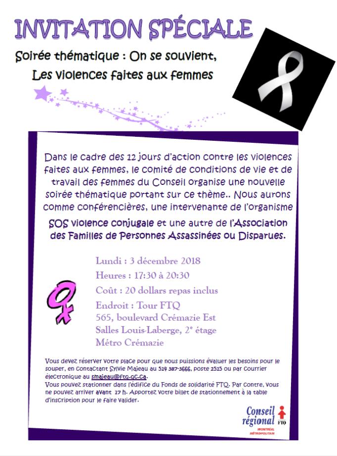 On se souvient, les violences faites aux femmes @ Tour FTQ 2ième étage Salle Louis-Laberge