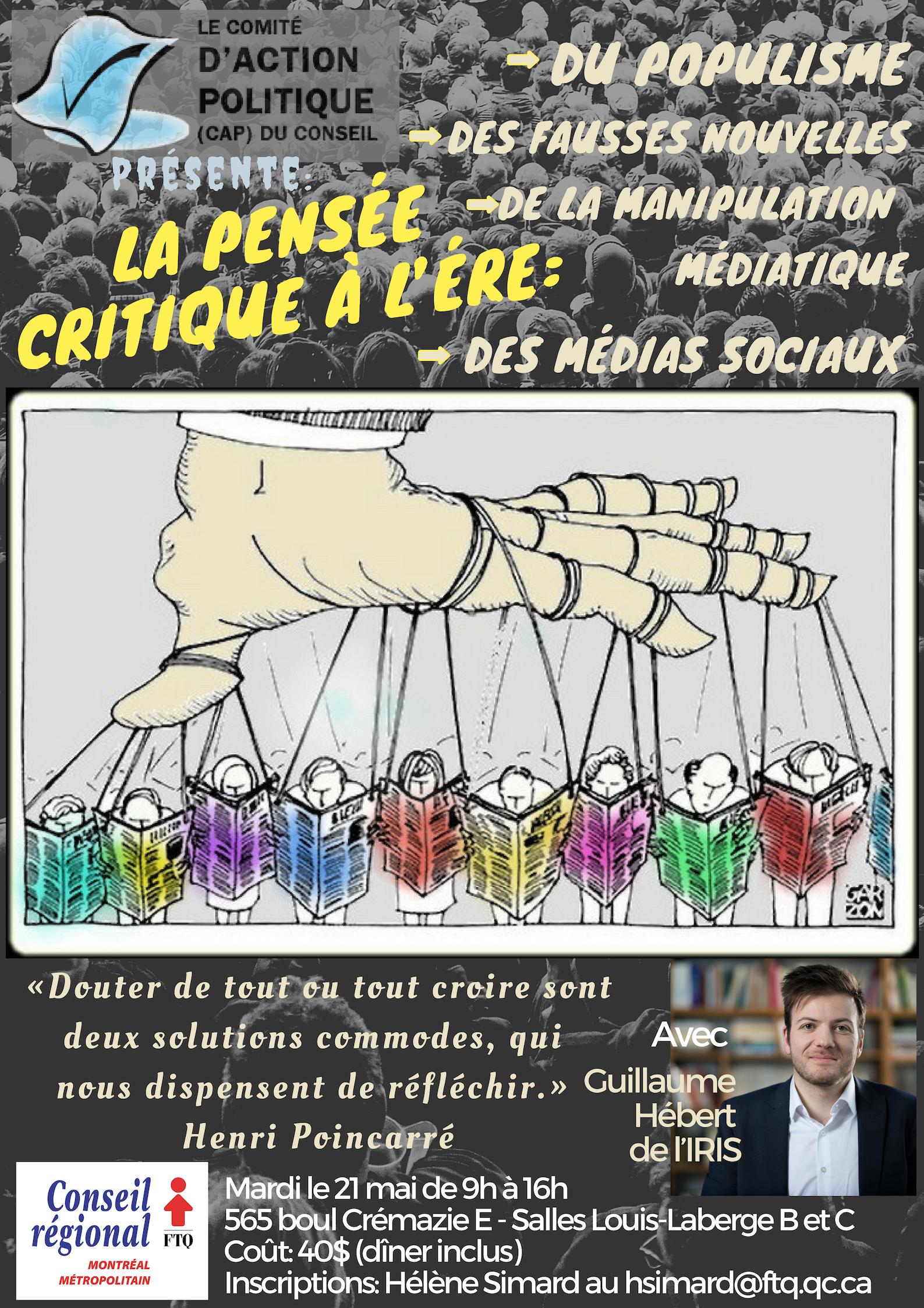 La pensée critique à l'ère... @ FTQ- Salles Louis-Laberge B et C